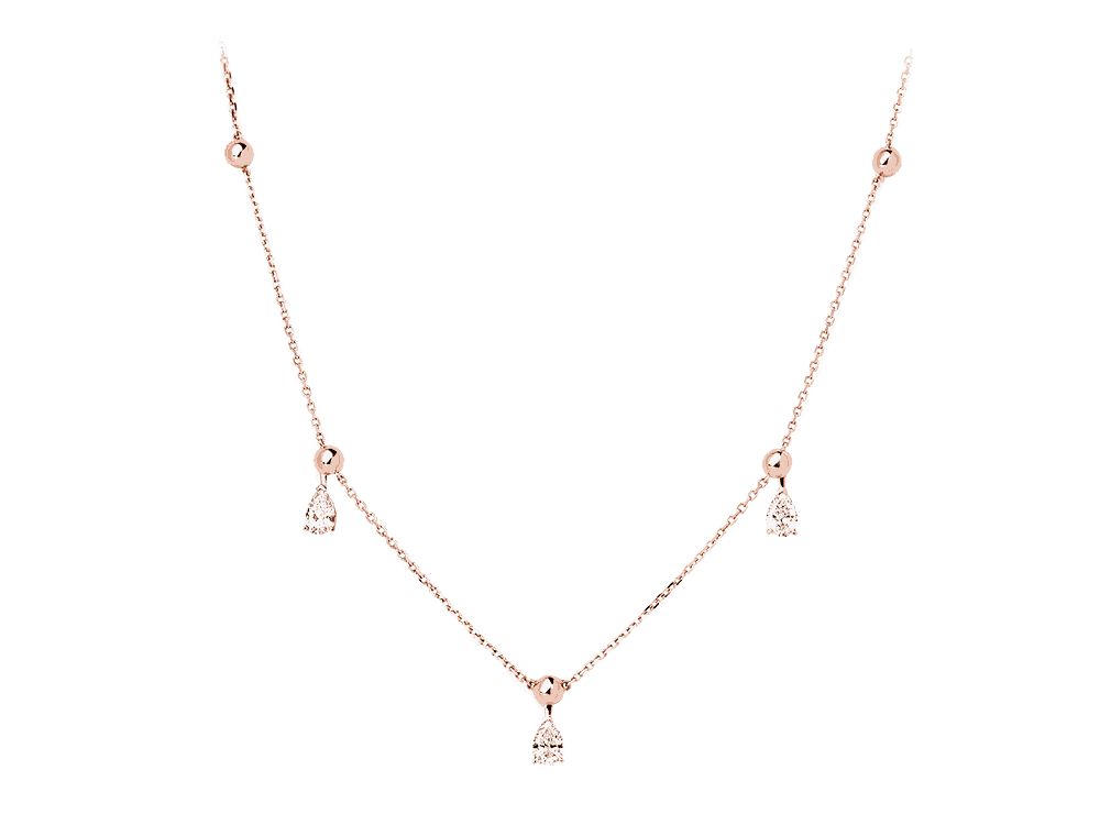 rose gold marquise diamond necklace