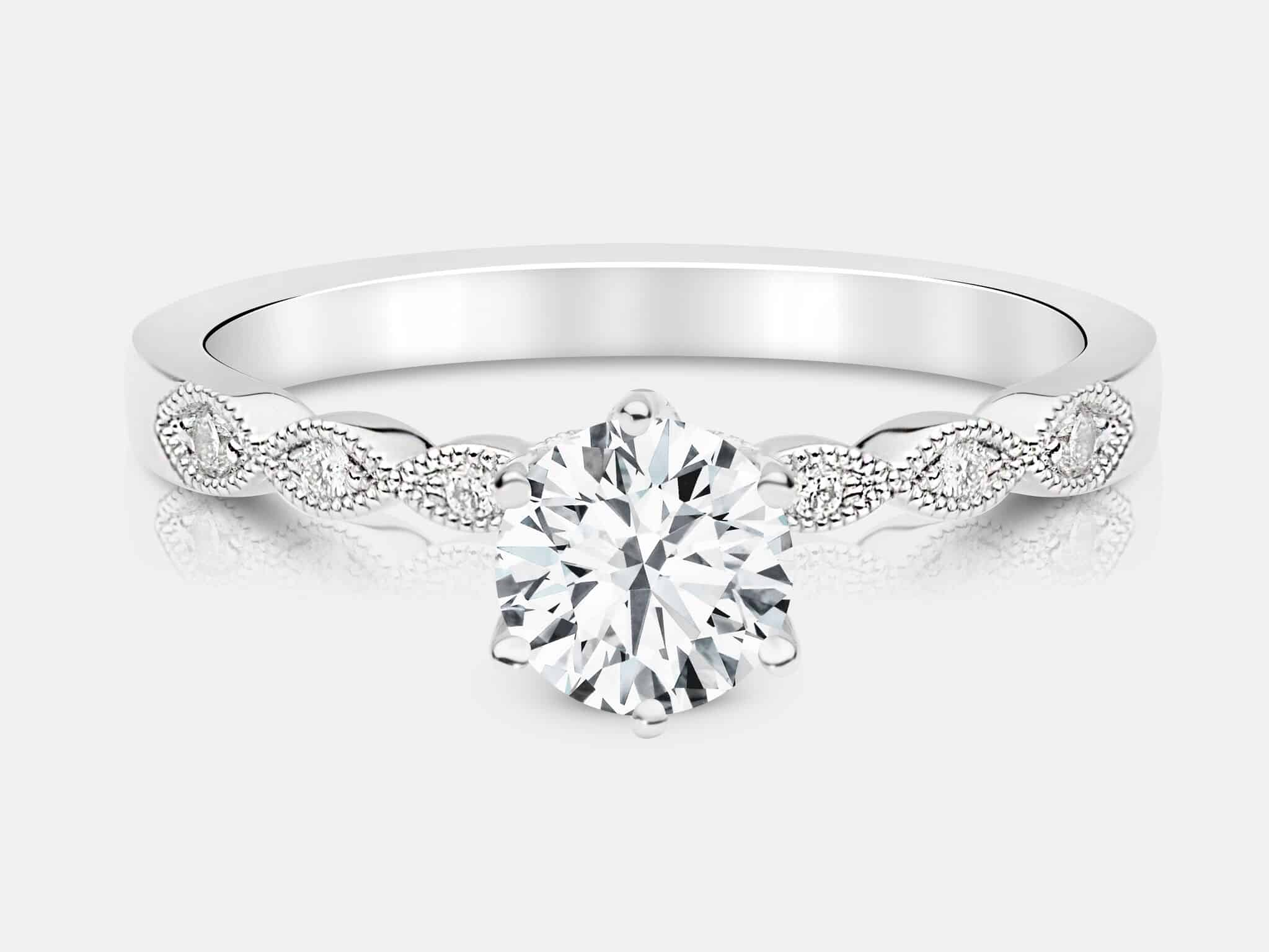 round ring cut engagement white diamonds gold carat shop ara diamond