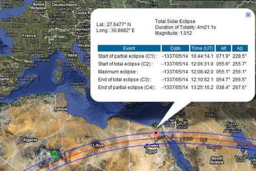 Sonnenfinsternis über Amarna am 14. Mai 1337 v. Chr. (Quelle: Nasa)