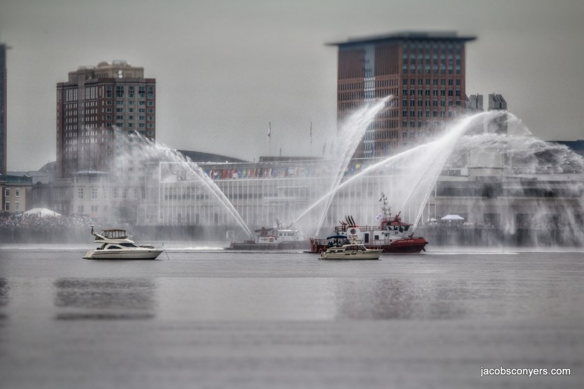 Fire boats waiting for the tall ships