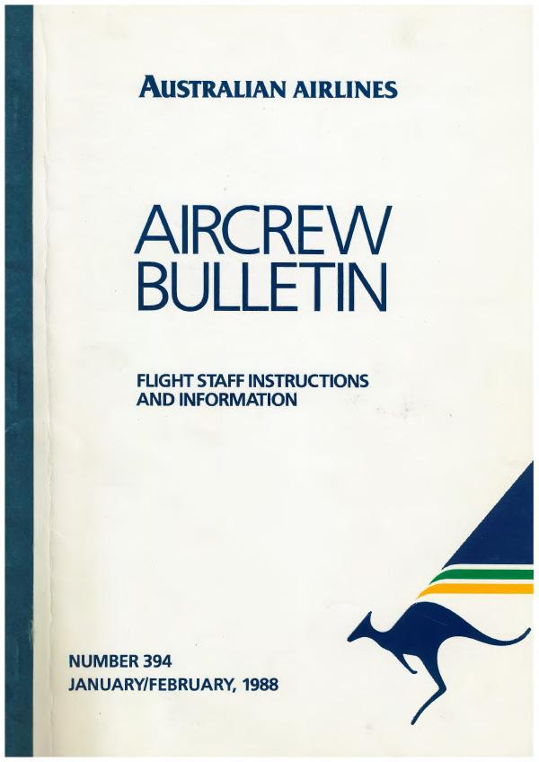 Australian Airlines Aircrew Bulletin, 1988