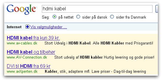 Googler efter et billigt hdmi kabel