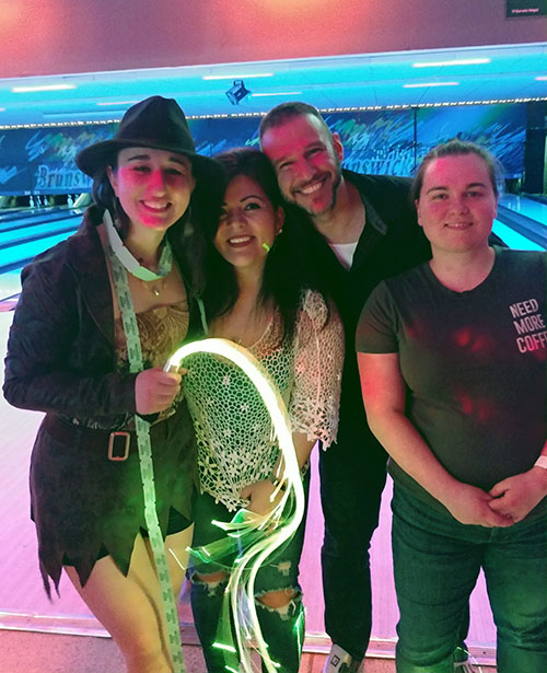 Four FirstBank employees at JA Bowl A Thon