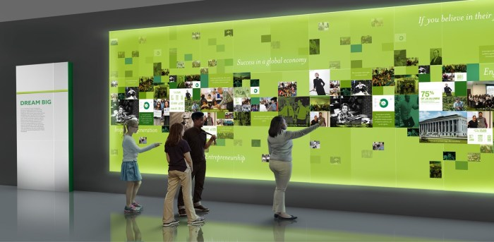 Artist rendering of a digital touch screen wall.