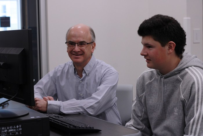 David Haining and student