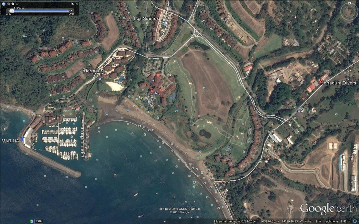 satellite picture of playa herradura costa rica