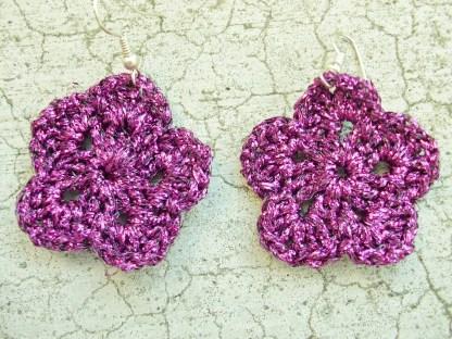 metallic purple flower earring