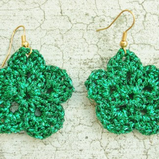 metallic green flower earring