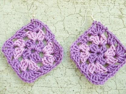 dark purple / light purple / dark purple granny square earrings