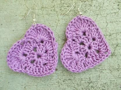 light purplecrocheted heart earrings