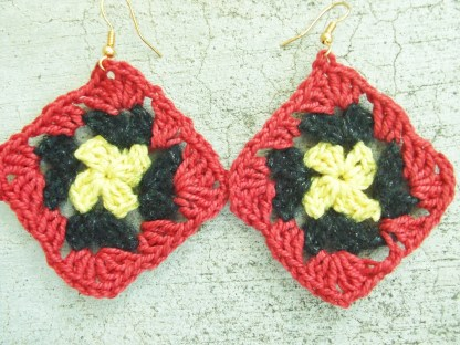 yellow black red granny square crocheted earrings