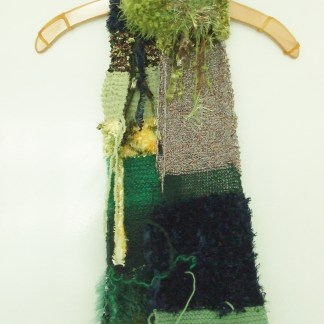 boho knitted scarf in greens and browns