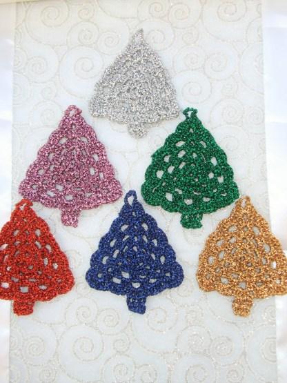 metallic crochet Christmas trees