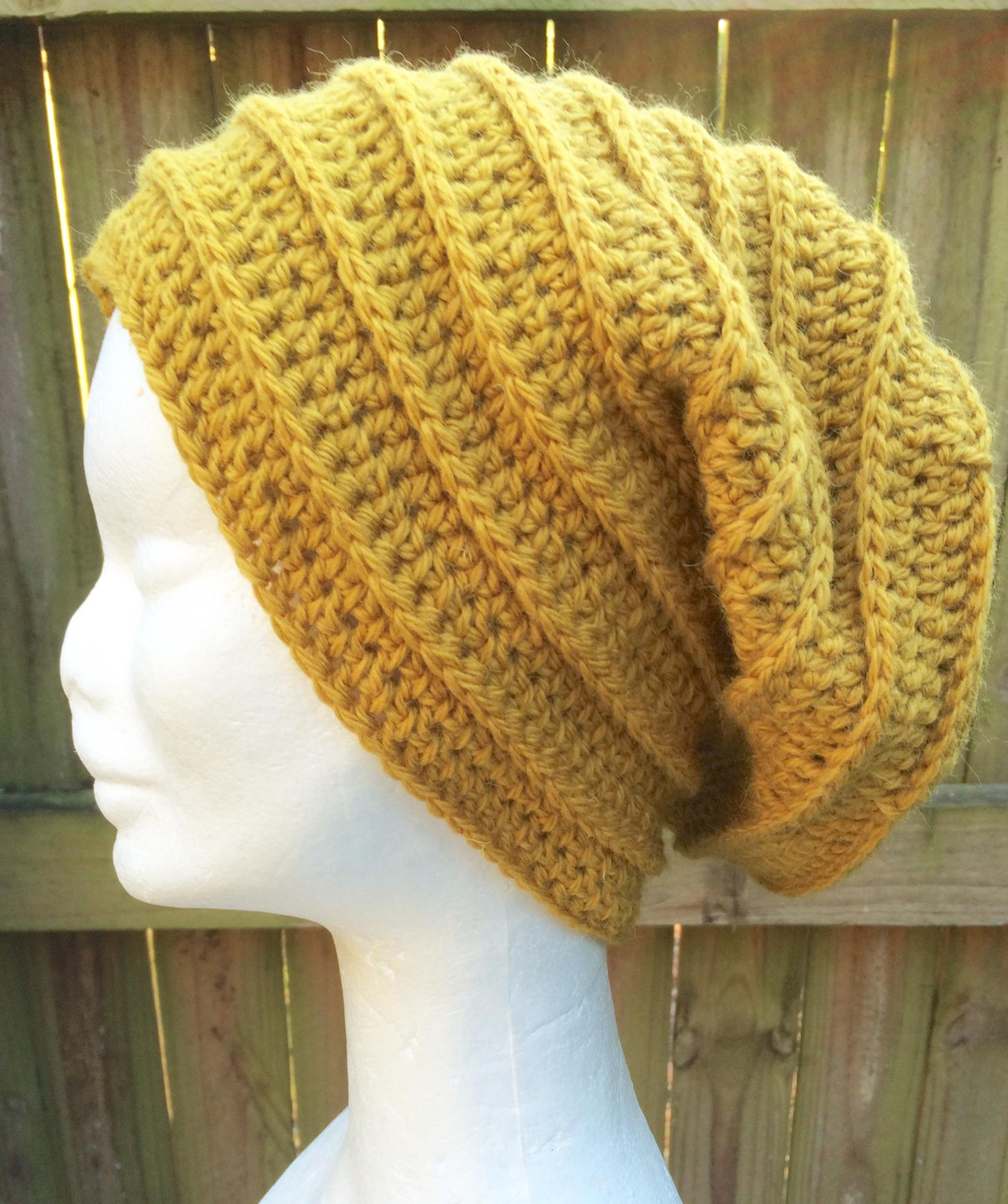 Crocheted Slouchy beanie in mustard yellow with a textured ribbed ... 3bb846b95257