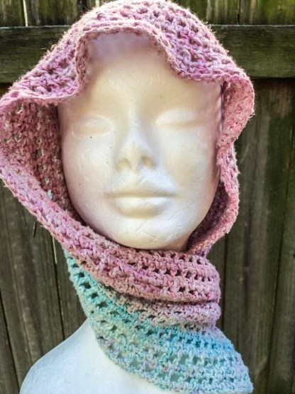 hand dyed pink & blue infinity scarf.