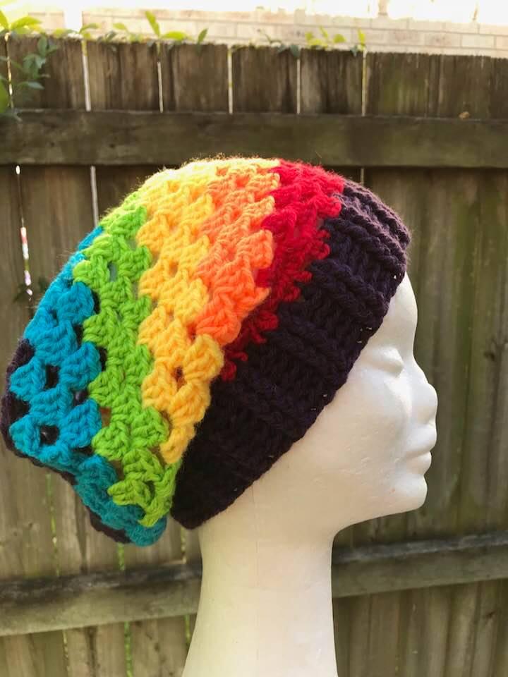 f9a676188 Granny Style Crochet Rainbow Beanie