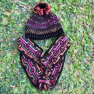 rainbow scarf beanie