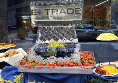 Ice sculpture with E-Trade's logo