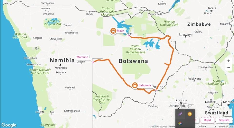 Maun to Botswana Namibia border