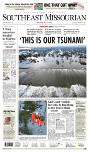 Hurricane Katrina Southeast Missourian page design by JA Creative Group