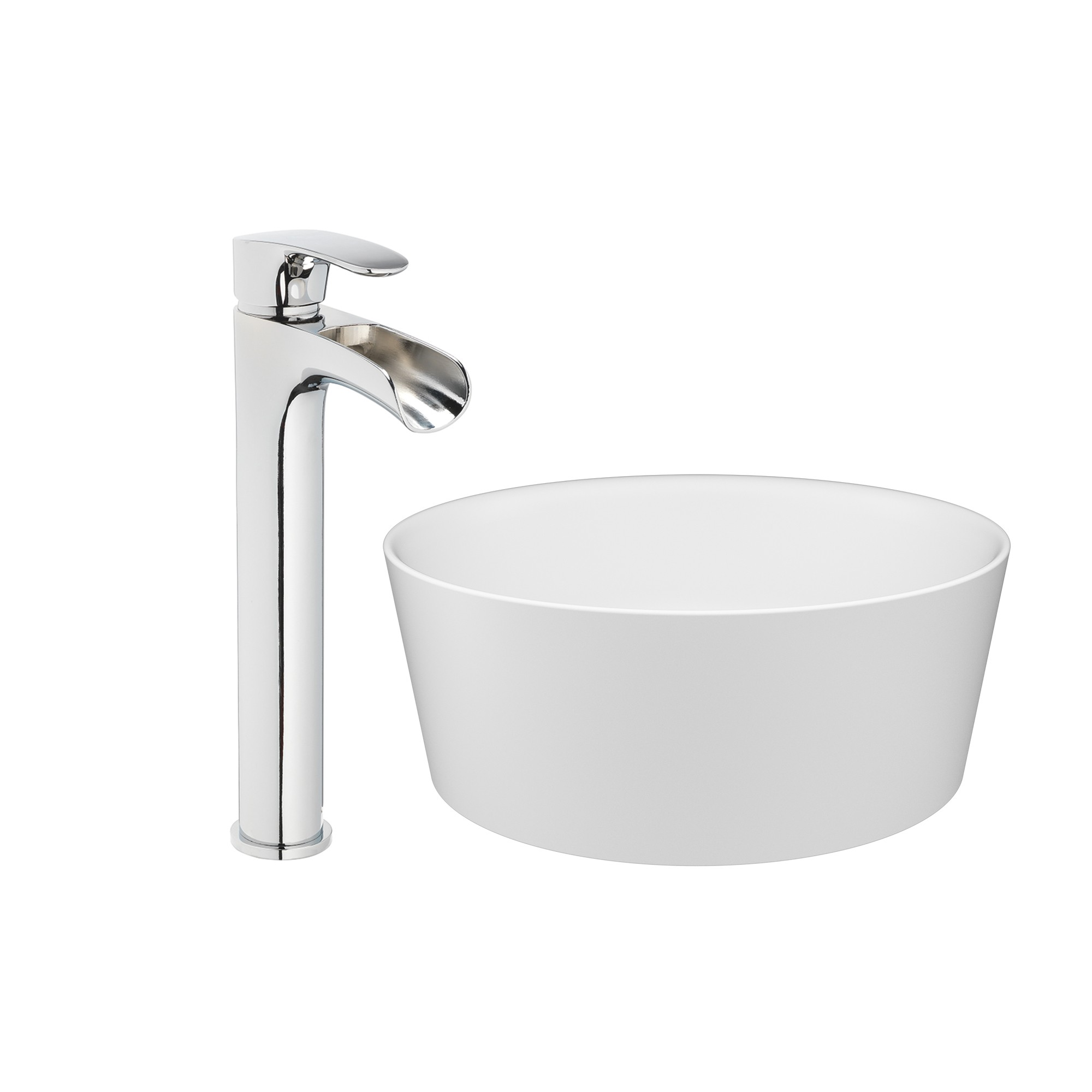 jacuzzi 15 13 16 solid surface vessel bathroom sink round basin white gloss with vessel filler faucet and pop drain included