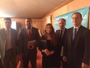 Mr Kamel Ben Naceur Ministre ( Minister - Industry, Energy and Mines), Mr Raimondo De Cardona (Italian Ambassador), Meryem Masmoudi (Secretary General of JET), Mr Lamine Dhaoui (UNIDO) and Mr Mansouri (Mayor of Kairouan)