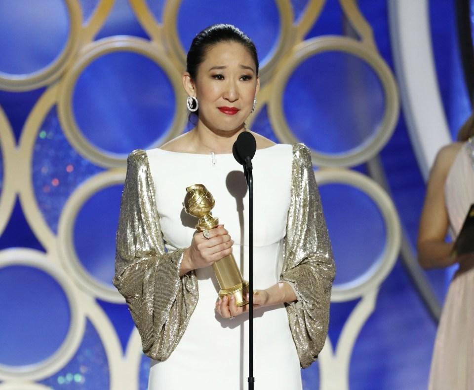 Sandra Oh vence o Globo de Ouro de melhor atriz em série de drama por 'Killing Eve' — Foto: Paul Drinkwater/NBC via AP
