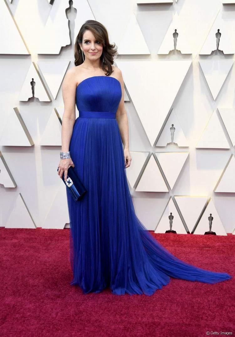 Tina Fey com um vestido Vera Wang | Foto de Getty Images
