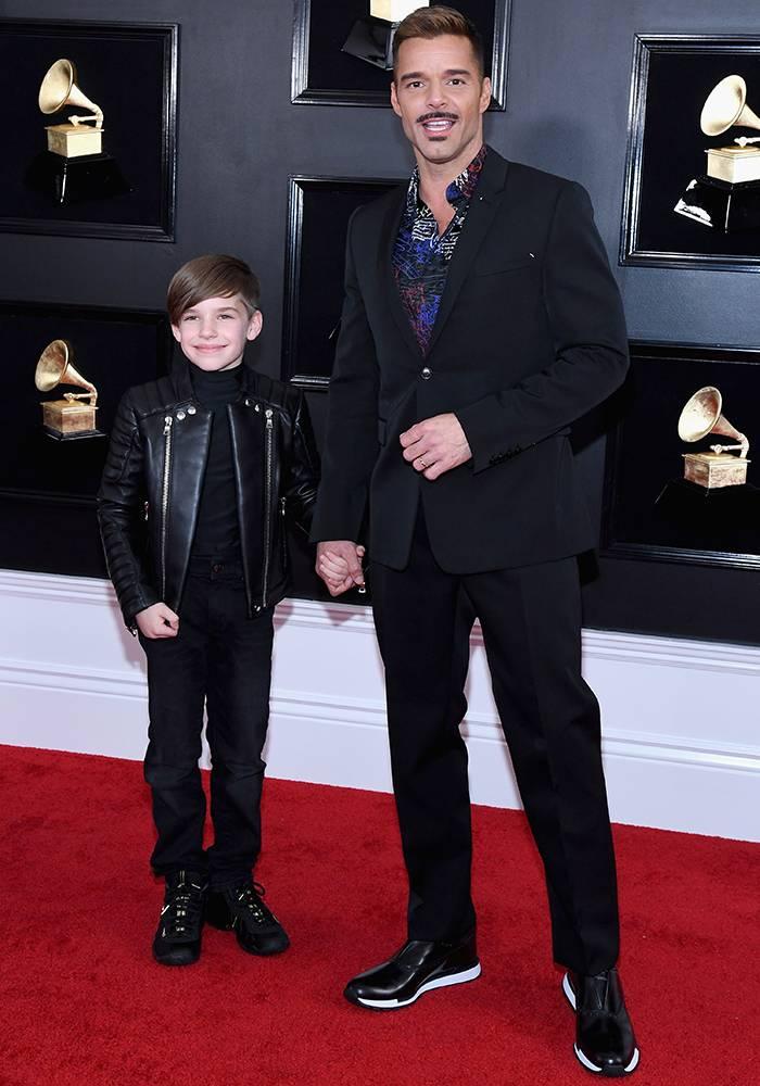 Grammy 2019: Meus looks favoritos dos famosos no tapete vermelho Ricky Martin e seu filho