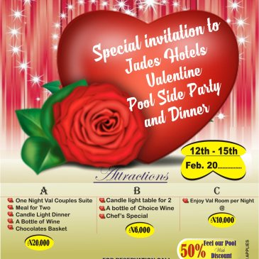 You are invited to Jades Hotel Valetine Pool side Party and Dinner 12th – 15th Feb. 2017