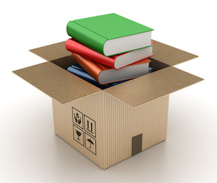 Open Cardboard Box with Books on White Background