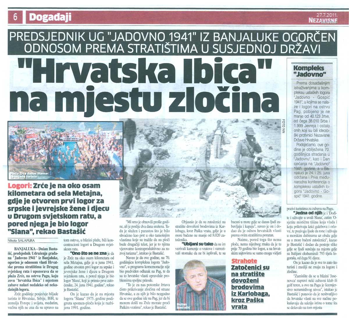 Јадовно - Независне новине чланак 07 2011