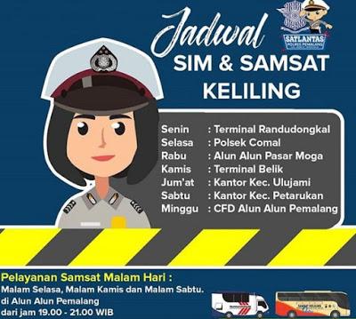 Jadwal Samsat dan SIM Keliling Pemalang Februari 2020