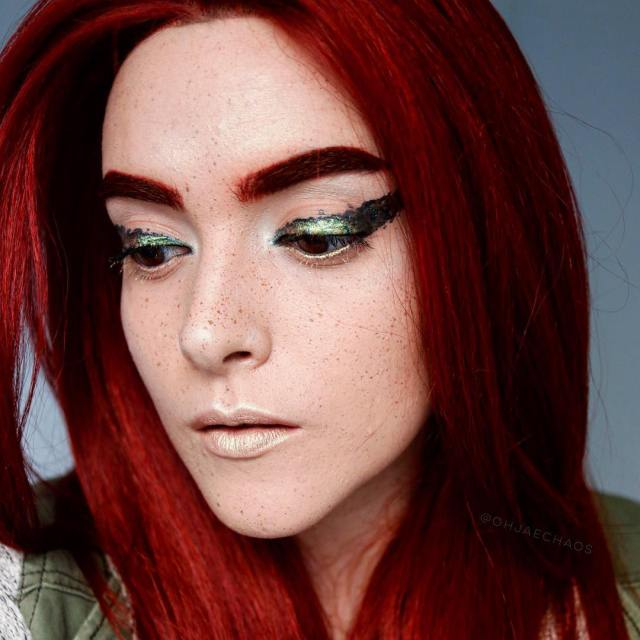 Chaotic Graphic Liner with Poison Ivy unintentional vibes Used makeupforeverushellip