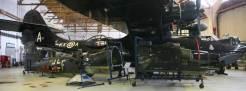 Her er også nese– og haleseksjonene av He 155 plassert ved siden av Catalinaen. En kan begynne å ane at He 115 med senterseksjon, flottører etc vil bli et fly på størrelse med Catalinaen