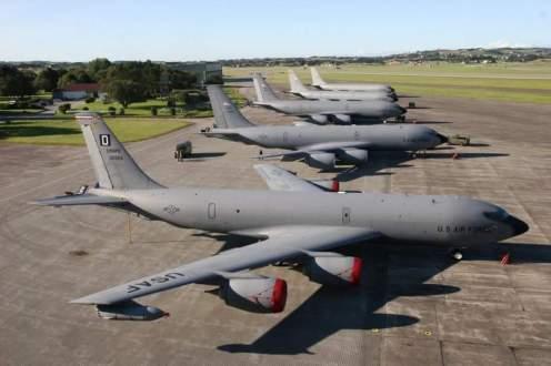 Amerikanske Boeing KC-135 Stratotankere av samme type som besøket Sola høsten 1988. Foto via Forsvaret