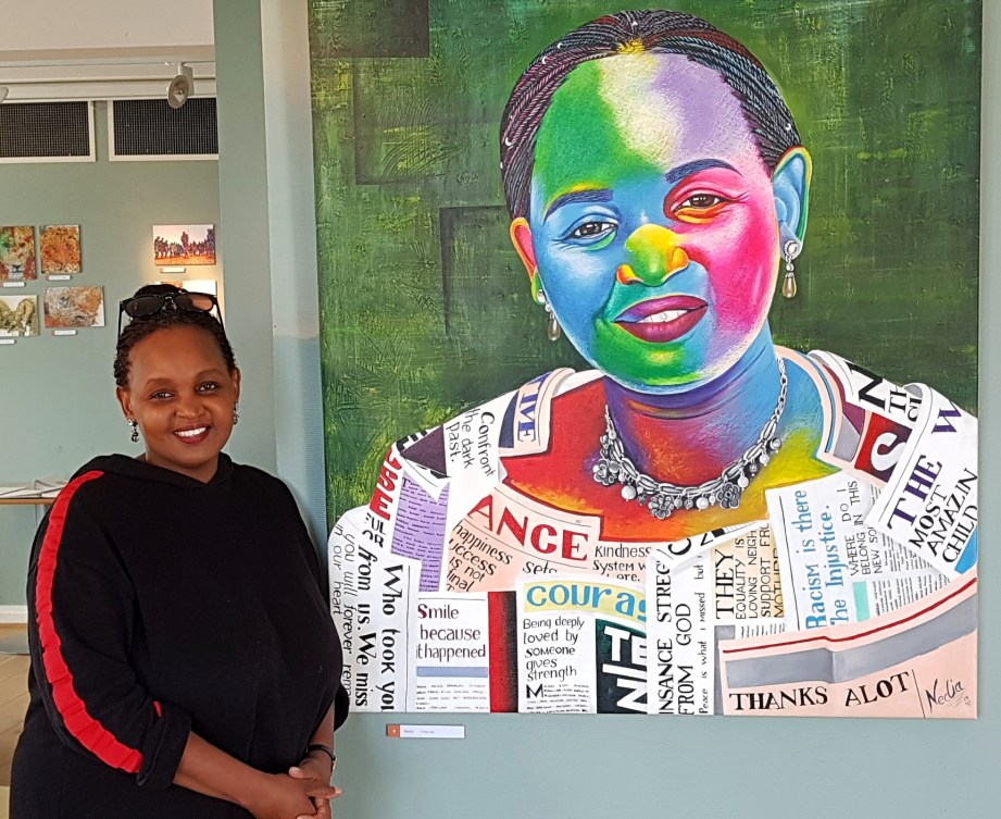 Kunstnaren som måla Rachel Mwakasi Skjærpe heiter Nedia (My Tribe Is Art).