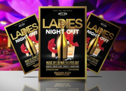Ladies Night Out Gold Flyer Template