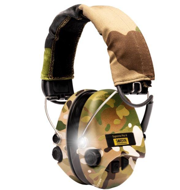 Gehörschutz Sordin PRO-X mit Gelkissen SANDCAMO Cups, Camo Lederband und LED bei Jagdabsehen