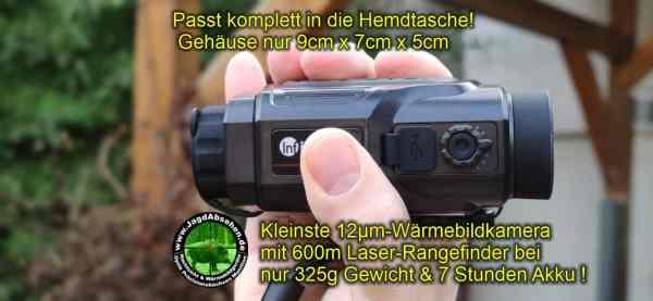 Jagdabsehen KanzelSet Wärmebildhandgerät Infiray Laser Finder 25R mit 600m Laser-Entfernungsmesser mit Kanzelmontage passt in die Hemdtasche