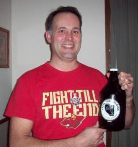 Nick and a growler of beer from Steel Toe Brewing