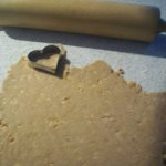 cutting out peanut butter dog treats
