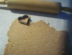 cutting out peanut butter puppy treats