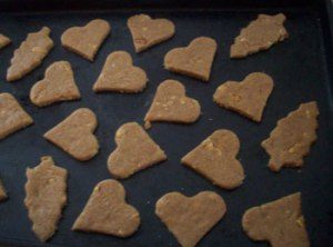 home made heart and tree shaped dog treats