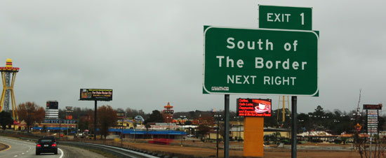 South of the Border Sign