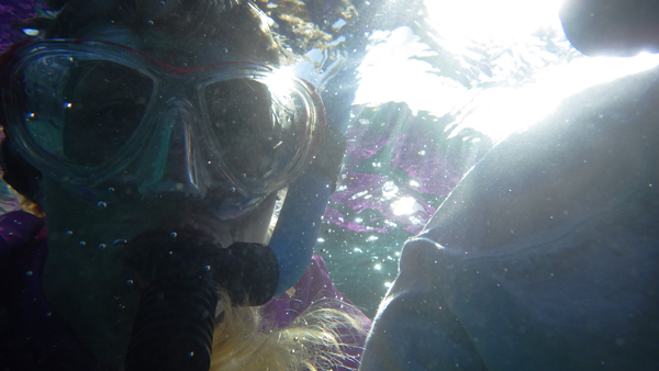 Nick and Silke trying the Pentax underwater camera in Belize