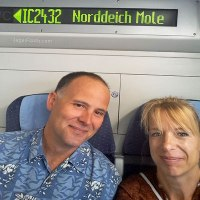 Nick and Silke on the train to Northern Germany