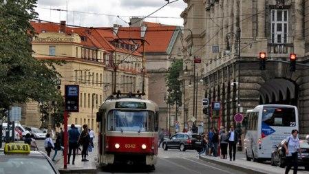 Streetcar in downtown Prague