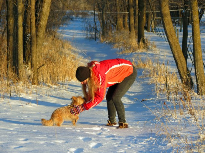 Enjoying a winter walk with Lily