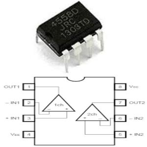 Gambar dan Simbol IC tipe RC4558 dengan simbol pin outnya.